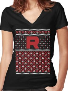 Team Rocket Sweater Women's Fitted V-Neck T-Shirt