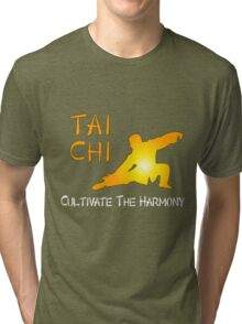 Tai Chi - Cultivate the Harmony (Black background) Tri-blend T-Shirt