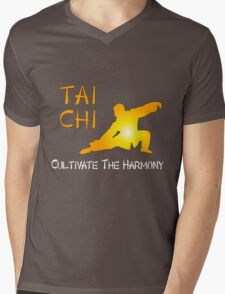 Tai Chi - Cultivate the Harmony (Black background) Mens V-Neck T-Shirt