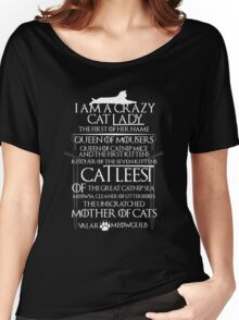 Catleesi- Mother of Cats- White on Black version Women's Relaxed Fit T-Shirt
