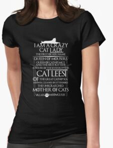 Catleesi- Mother of Cats- White on Black version Womens Fitted T-Shirt