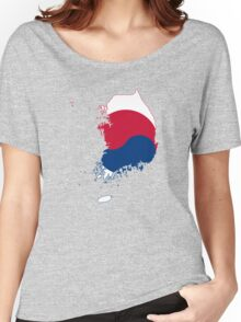 Flag Map of South Korea  Women's Relaxed Fit T-Shirt