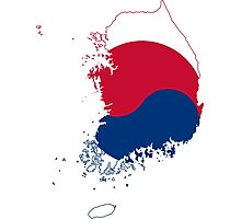 Flag Map of South Korea  Photographic Print