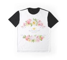 Lovely wishes floral vector design frame. Wild rose, peony, orchid, hydrangea, pink and yellow flowers.  Graphic T-Shirt
