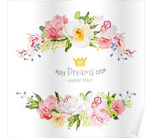 Lovely wishes floral vector design frame. Wild rose, peony, orchid, hydrangea, pink and yellow flowers.  Poster