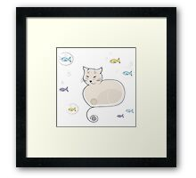 Whimsical Cat and Fish Framed Print
