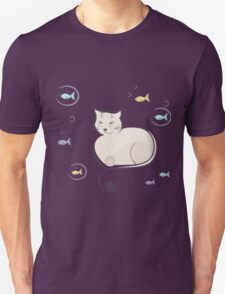 Whimsical Cat and Fish T-Shirt