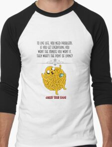 Adventure time jake the dog life quote funny dog puppy design Men's Baseball ¾ T-Shirt