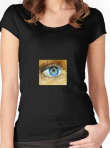 Realistic Eye Painting Women's Fitted Scoop T-Shirt