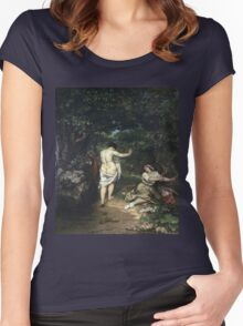 Vintage famous art - Gustave Courbet - Les Baigneuses Women's Fitted Scoop T-Shirt