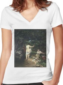 Vintage famous art - Gustave Courbet - Les Baigneuses Women's Fitted V-Neck T-Shirt