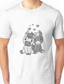 couple couple love love 2 sweet cute sitting comic cartoon pony horses pferdchen kawaii child girl baby foal Unisex T-Shirt