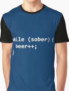 While Sober Do Beer - White Graphic T-Shirt
