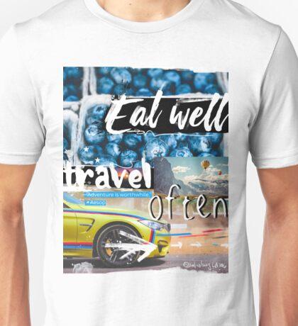 Eat well travel often - Aesop Unisex T-Shirt