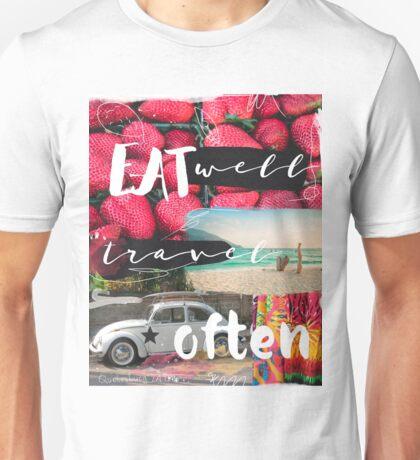 Eat well travel often beach Unisex T-Shirt