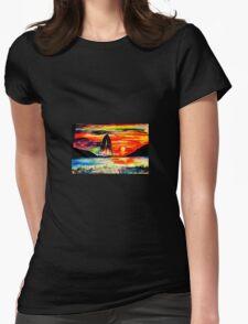 Retro Sunset Womens Fitted T-Shirt