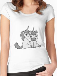 couple love couple in love young unicorn unicorn sweet cute pony horse pferdchen kawaii child girl baby foal Women's Fitted Scoop T-Shirt