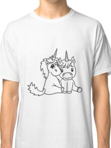 couple love couple in love young unicorn unicorn sweet cute pony horse pferdchen kawaii child girl baby foal Classic T-Shirt