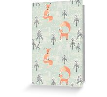 Seamless pattern with fox in winter forest Greeting Card