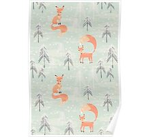 Seamless pattern with fox in winter forest Poster
