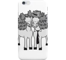 couple love couple in love 2 horse mare stallion man woman ties hat loop funny couple iPhone Case/Skin