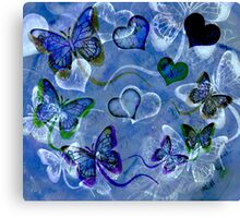 Blue Butterflies and Hearts Canvas Print