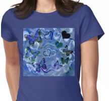 Blue Butterflies and Hearts Womens Fitted T-Shirt