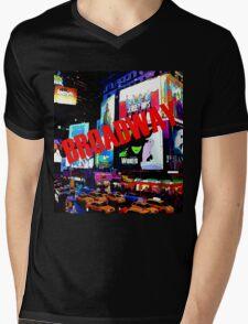 BROADWAY Lights Mens V-Neck T-Shirt