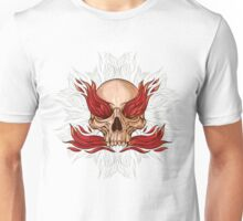 skull and flames of fire Unisex T-Shirt