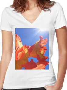 Glorious Sun Gladiola Women's Fitted V-Neck T-Shirt