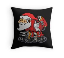 SANTA WITH A MACHINE GUN Throw Pillow