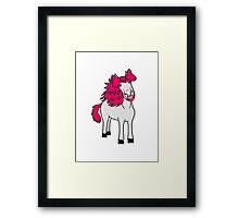girl bow sweet funny woman female mare beautiful pony stallion riding white comic cartoon Framed Print