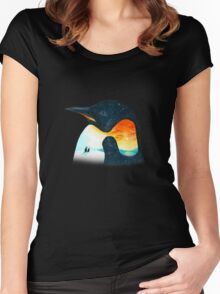 Penguin Sunset Women's Fitted Scoop T-Shirt