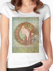 Alphonse Mucha - Laurel  Women's Fitted Scoop T-Shirt