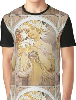 Alphonse Mucha - Flowers  Graphic T-Shirt