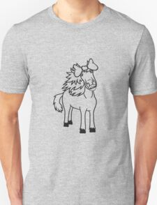 girl bow sweet funny woman female mare beautiful pony stallion riding white comic cartoon Unisex T-Shirt