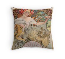 Alphonse Mucha - Bisquits Throw Pillow