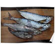 raw fish on a cutting table Poster