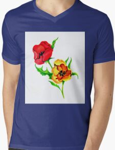 Red and Yellow Tulips Mens V-Neck T-Shirt
