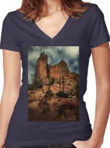The Place of Snakes Women's Fitted V-Neck T-Shirt