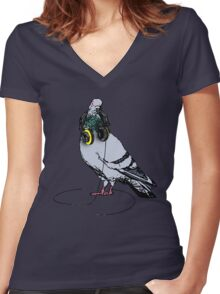 Techno Pigeon Women's Fitted V-Neck T-Shirt