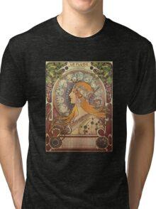 Alphonse Mucha Art Nouveau - La Plume Tri-blend T-Shirt