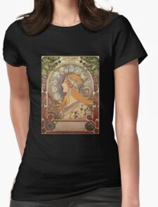 Alphonse Mucha Art Nouveau - La Plume Womens Fitted T-Shirt