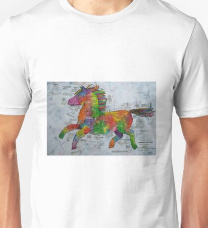 The Rainbow Delux Prancing Pony Pattern Unisex T-Shirt