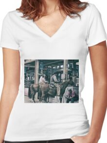 Cattle Drive 14 Women's Fitted V-Neck T-Shirt