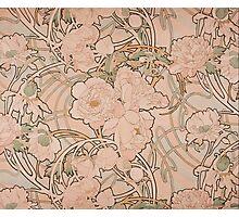 Mucha Peonies Apricot Photographic Print