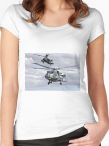 AgustaWestland AW159 Wildcat HMA2 & Apache AH1 Helicopters Women's Fitted Scoop T-Shirt