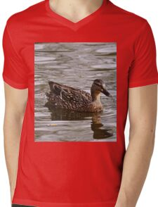 Duck Swimming Mens V-Neck T-Shirt