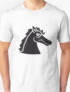 logo black head face cool riding horse stallion equestrian comic cartoon T-Shirt