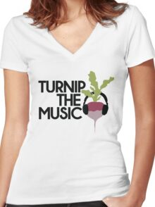Turnip the Music Women's Fitted V-Neck T-Shirt